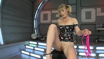 Hot solo blonde babe Mona Wales fucks machine and vibrates clit in pink panties then naked in shaved pussy shoves another fucking machine Thumbnail