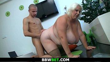 He doggy-fucks huge boobs blonde fatty