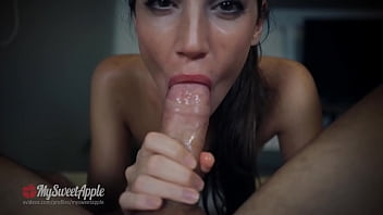 Messy blowjob and deepthroat, he cums on my face and I swallow it