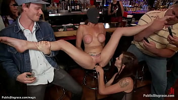 Blindfolded huge boobs tied brunette sub Alexia Rae is groped and anal fucked by big cock Ramon Nomar in crowded public bar with Princess Donna Dolore
