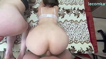 Doggy Style through panties with a girl with a fat ass.