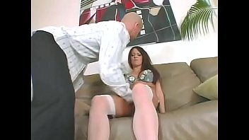 Hot brunette in stockings Vanessa Lane gets double penetrated by cock and dildo