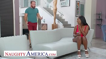 Naughty America - Daya Knight rides a big cock on the couch and she can't get enough of it
