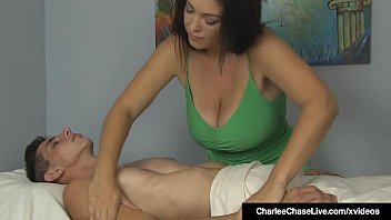 Mature Masseuse Charlee Chase gives her client a two handed handjob so he can get his sexual r. after being cheated on by his wife!