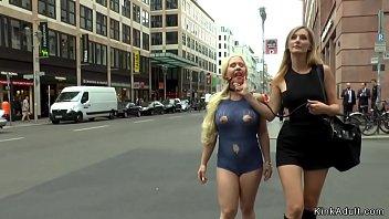 Hot ass busty blonde d. in lingerie in public street