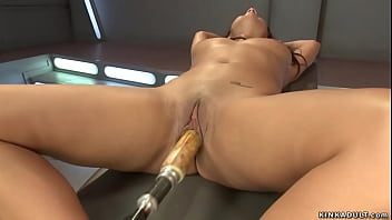 Beautiful brunette shaved pussy natural busty Latina babe Evi Fox fucking machine with wet pussy then riding Sybian and getting orgasms