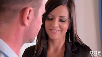 Brunette bombshell Summer crams her mouth and pink with fat dick at the office Thumbnail