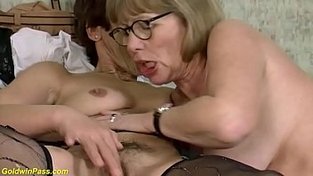 two horny moms in sexy stockings sharing a big dildo for a rough lesbian grandma sex lesson