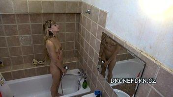 Czech teen captured in the shower. Czech voyeur spy cam video.