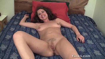 Excited brunette beauty from Yanks Alex Starr fucking her toy for intense orgasm