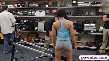 Amateur babe sucks off and gets her sweet coochie banged by nasty pawn guy inside his pawnshops office