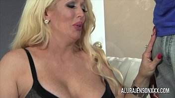 Busty blonde milf has her holes stretched wide by a big black dick