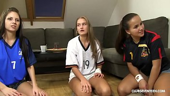 Rare foursome with 3 teen soccer fan babes fucking lucky guy