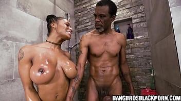 Ebony babe with huge tits sucks and fucks a black dick - black porn