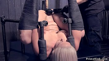 Big Tits Blonde Slave Milf In Metal Device Gets Cattle Prod Then Chained And Laid Gets Whipped Then Anal Fucked With Dick On A Stick In Hands Of Master In Dungeon thumbnail
