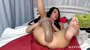 HKJ with deep view to her ass via oxball dildo and deep huge anal insertion