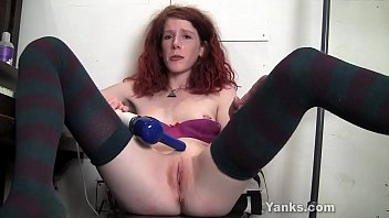 Redhead cutie from Yanks Staci toying her cooter to squirting orgasm