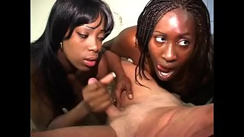 Two black women Barbie and Coco Chanel lick the little white dick in the office