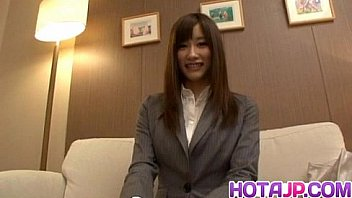 Chika in office suit uses vibrator