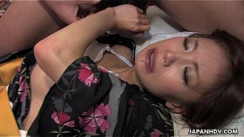 Asian whore gets fucked by three dudes