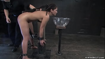 Pretty slave Jade Indica with nipples torment device and vibrator between legs gets whipped then in other extreme positions gets corporal punishment