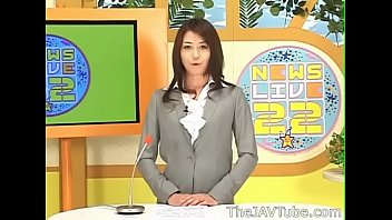 Japanese news reporter Maki Hojo getting a bukkake and worked out hard on TV