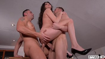 Hot college student Francesca DiCaprio DP'ed to the extreme during XXX threesome