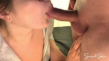 Blowjob with hidden cam - she gets all the cum in her mouth