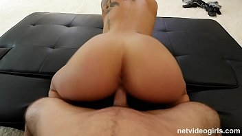 Skinny Latina fucked from behind and swallows