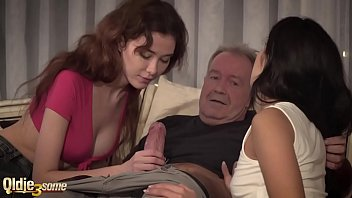 Old guy havng sex with two bitches
