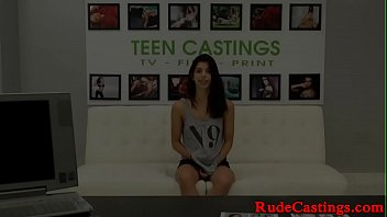 Restrained latina teen gagged at casting