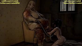 3D porn Zhen Ji sucks the cock of a fat monster