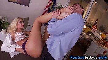 Office blondes feet jizzy