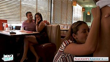 Cutie Gracie Glam gets facialized in foursome Thumbnail