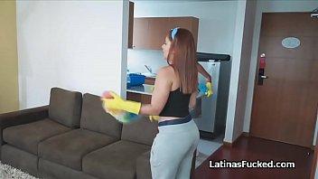 Three Latina maids sharing tenants cock