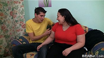 Cute plumper spreads her legs for big meat