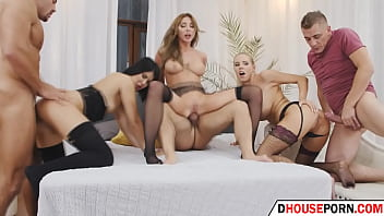 group sex with three babes with huge tits