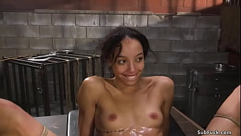 Bound and bent over table small tits ebony slave Alexis Tae gets pussy fucked by rough big dick master Tommy Pistol then gets fisted