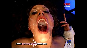 The Legendary Magdalena gets her pretty face and her tight body cum covered in a huge bukkake gangbang! German Goo Girls