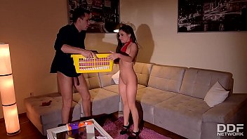 Anal BDSM action with tied up petite maid Anita B. makes her scream for more