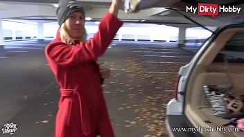 MyDirtyHobby - German amateur blonde babe sucks a cock at a public parking lot and gets a cumshot on her beautiful tits after a nice fuck