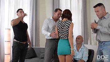 XXX group sex orgy makes curvy bombshell Tina Hot drool over 4 big veiny dicks