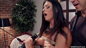 Bound brunette MILF trainee India Summer in lingerie gets whipped and disciplined by master James Mogul then pussy rough fucked and breasts cummed by huge cock gimp Owen Gray
