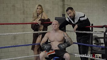 Priest boxing to win a hot busty blonde for a prize!