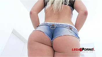 Blanche Bradburry in booty shorts extreme 5on1 gangbang with DAP
