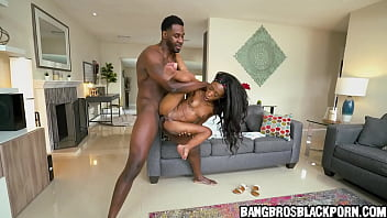 Ebony teen gets crushed by a tall black guy with a huge penis- black porn