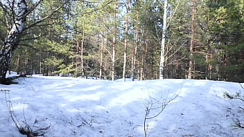 Beautiful Blowjob to a Stranger in the Winter Forest