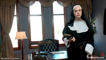 Lesbian nun Chanel Preston masturbates in her office then ties ebony sinner Ana Foxxx and rides her face while her body is waxed till anal fucks her