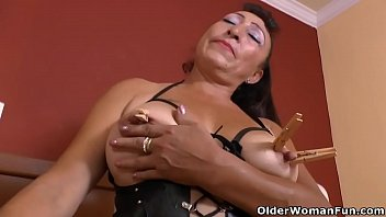 Latina milf Karina feels exceptionally horny in fishnet pantyhose and really gets herself going with wooden clothespins. Latina milf Sharon.