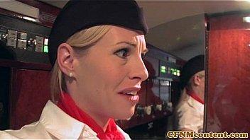Femdom CFNM stewardesses fuck rude passenger